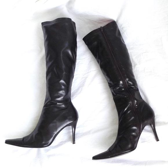 cefbc10dfac Chocolate Brown Knee High Slim Calf Boots Sz 10M